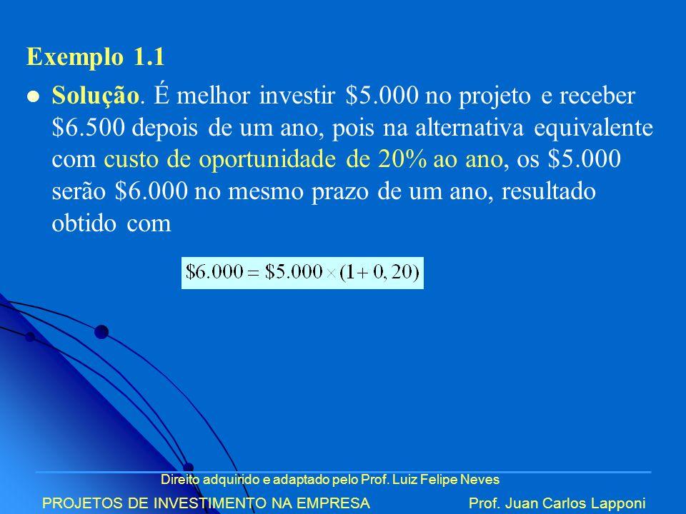 Direito adquirido e adaptado pelo Prof. Luiz Felipe Neves PROJETOS DE INVESTIMENTO NA EMPRESAProf. Juan Carlos Lapponi Exemplo 1.1 Solução. É melhor i
