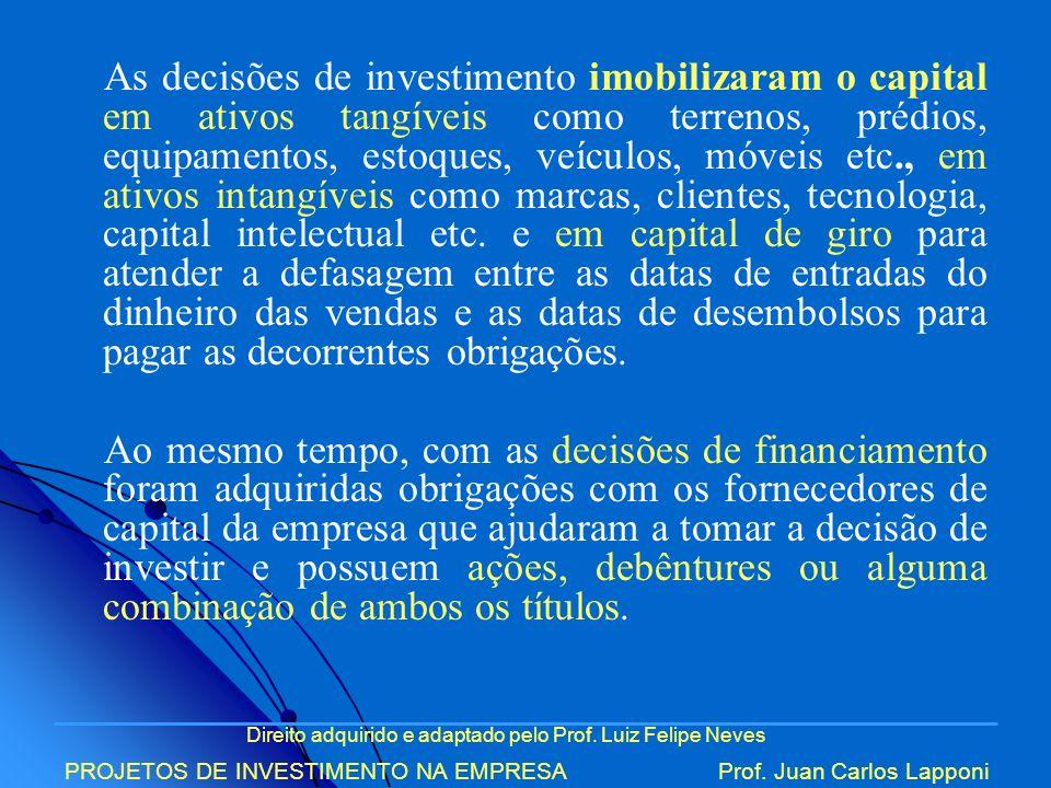 Direito adquirido e adaptado pelo Prof. Luiz Felipe Neves PROJETOS DE INVESTIMENTO NA EMPRESAProf. Juan Carlos Lapponi As decisões de investimento imo