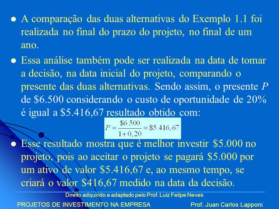 Direito adquirido e adaptado pelo Prof. Luiz Felipe Neves PROJETOS DE INVESTIMENTO NA EMPRESAProf. Juan Carlos Lapponi A comparação das duas alternati