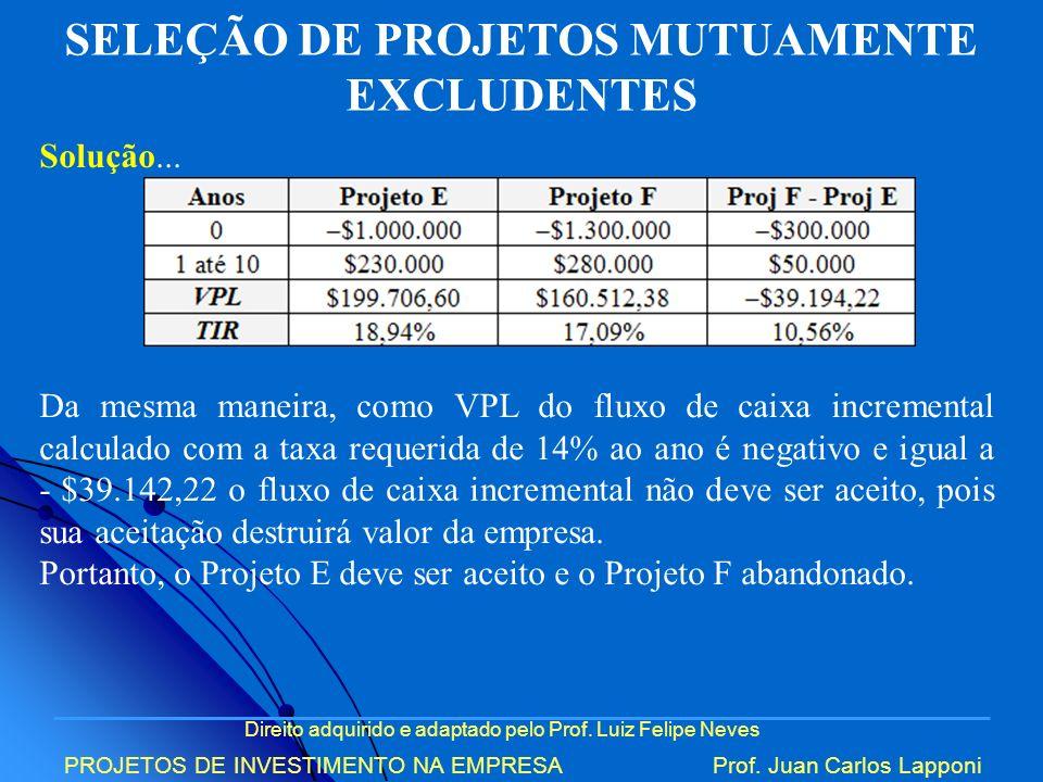 Direito adquirido e adaptado pelo Prof. Luiz Felipe Neves PROJETOS DE INVESTIMENTO NA EMPRESAProf. Juan Carlos Lapponi SELEÇÃO DE PROJETOS MUTUAMENTE