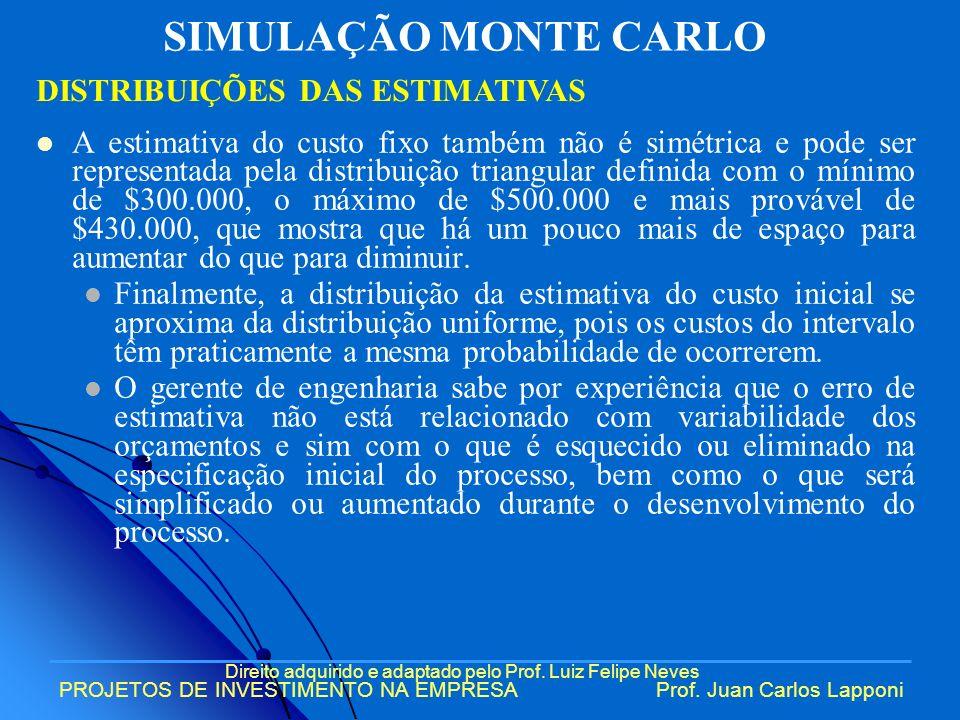 Direito adquirido e adaptado pelo Prof. Luiz Felipe Neves PROJETOS DE INVESTIMENTO NA EMPRESAProf. Juan Carlos Lapponi A estimativa do custo fixo tamb
