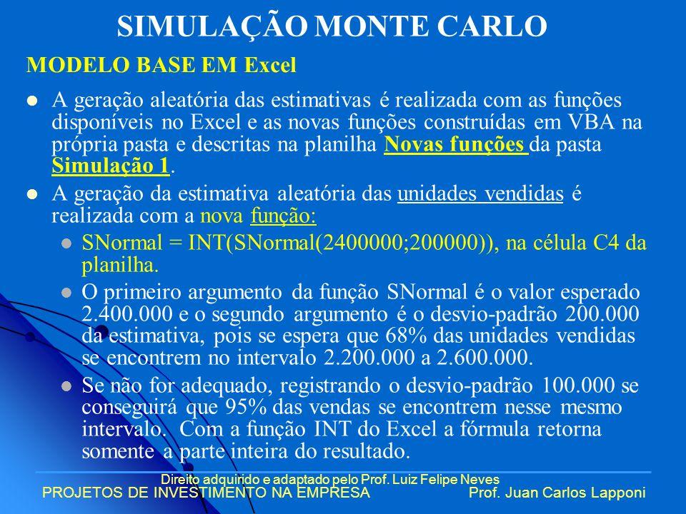 Direito adquirido e adaptado pelo Prof. Luiz Felipe Neves PROJETOS DE INVESTIMENTO NA EMPRESAProf. Juan Carlos Lapponi A geração aleatória das estimat