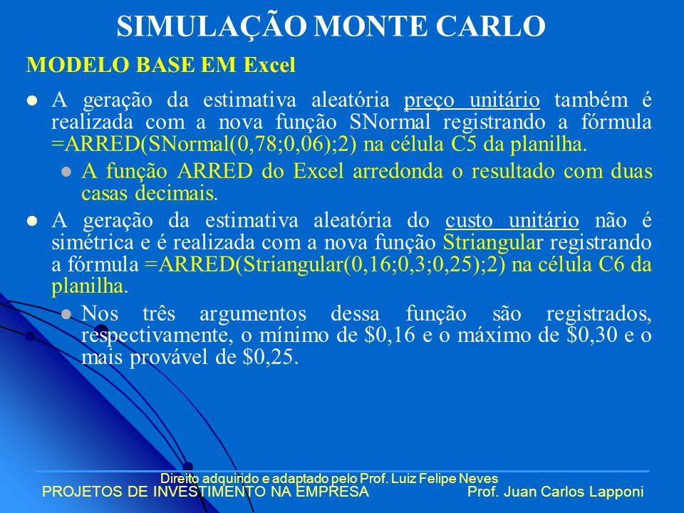 Direito adquirido e adaptado pelo Prof. Luiz Felipe Neves PROJETOS DE INVESTIMENTO NA EMPRESAProf. Juan Carlos Lapponi A geração da estimativa aleatór