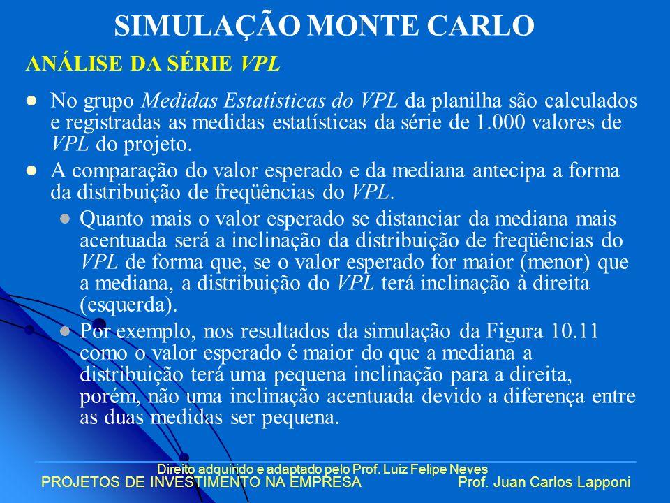 Direito adquirido e adaptado pelo Prof. Luiz Felipe Neves PROJETOS DE INVESTIMENTO NA EMPRESAProf. Juan Carlos Lapponi No grupo Medidas Estatísticas d