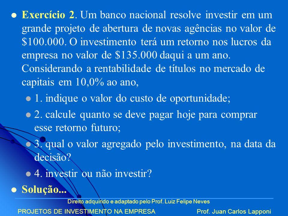 Direito adquirido e adaptado pelo Prof. Luiz Felipe Neves PROJETOS DE INVESTIMENTO NA EMPRESAProf. Juan Carlos Lapponi Exercício 2. Um banco nacional