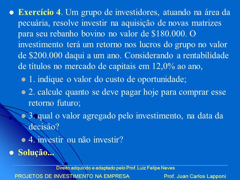 Direito adquirido e adaptado pelo Prof. Luiz Felipe Neves PROJETOS DE INVESTIMENTO NA EMPRESAProf. Juan Carlos Lapponi Exercício 4. Um grupo de invest