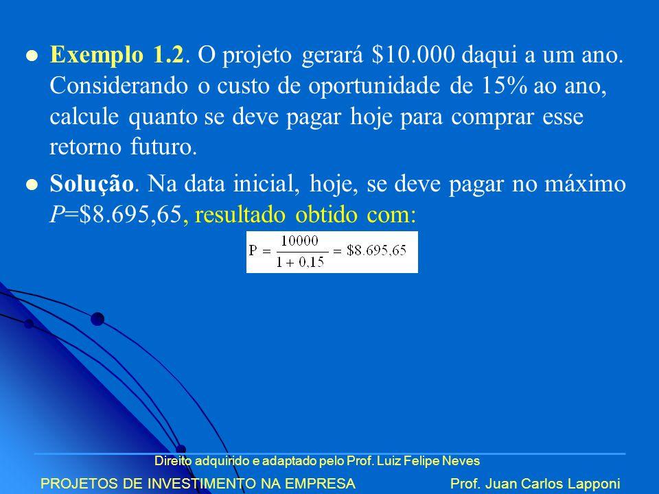 Direito adquirido e adaptado pelo Prof. Luiz Felipe Neves PROJETOS DE INVESTIMENTO NA EMPRESAProf. Juan Carlos Lapponi Exemplo 1.2. O projeto gerará $