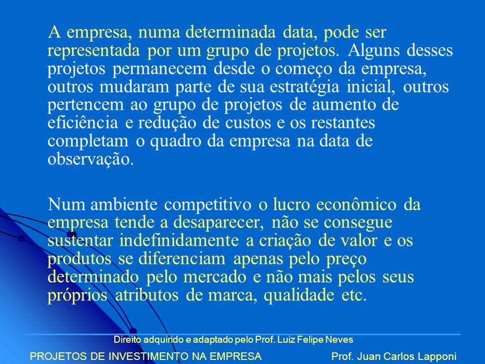 Direito adquirido e adaptado pelo Prof. Luiz Felipe Neves PROJETOS DE INVESTIMENTO NA EMPRESAProf. Juan Carlos Lapponi A empresa, numa determinada dat