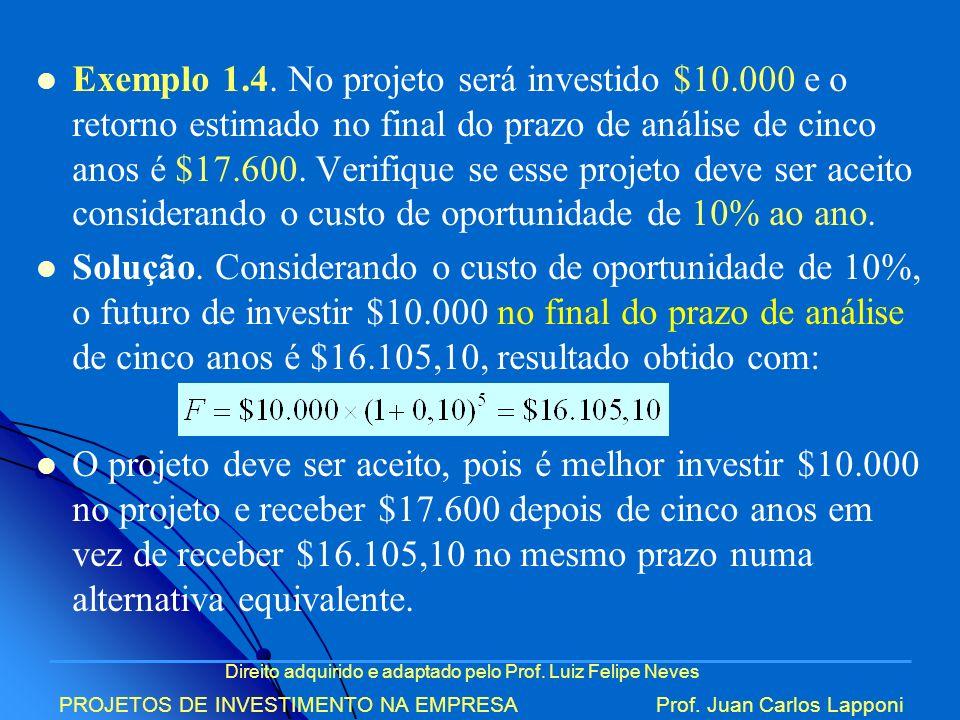 Direito adquirido e adaptado pelo Prof. Luiz Felipe Neves PROJETOS DE INVESTIMENTO NA EMPRESAProf. Juan Carlos Lapponi Exemplo 1.4. No projeto será in