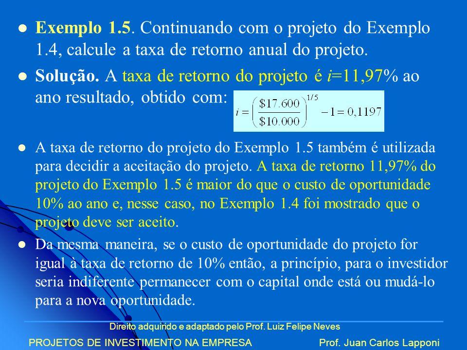 Direito adquirido e adaptado pelo Prof. Luiz Felipe Neves PROJETOS DE INVESTIMENTO NA EMPRESAProf. Juan Carlos Lapponi Exemplo 1.5. Continuando com o