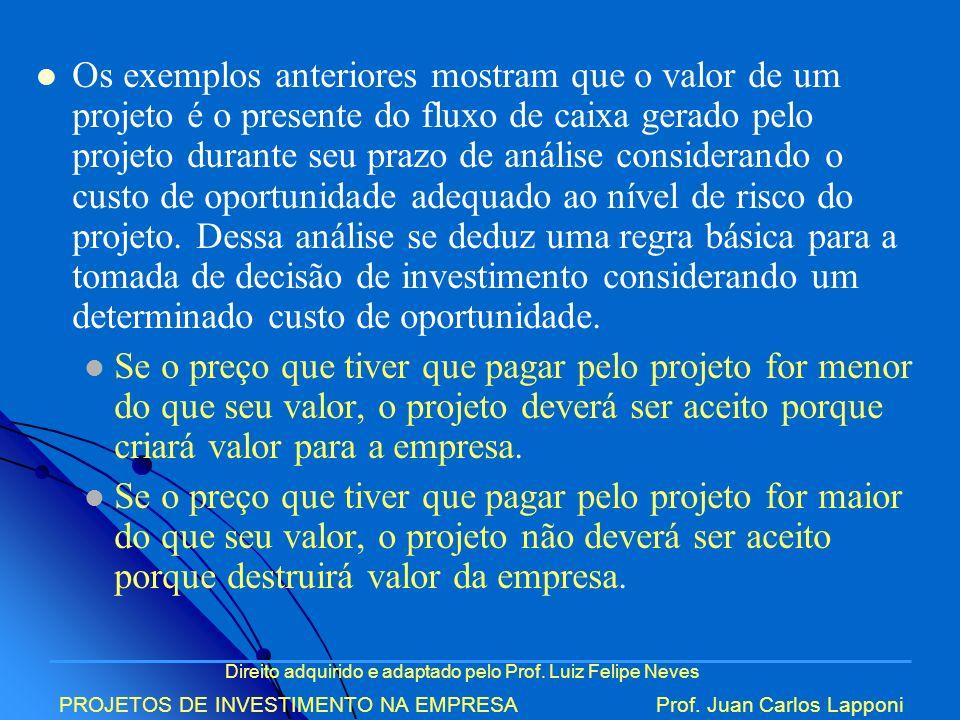 Direito adquirido e adaptado pelo Prof. Luiz Felipe Neves PROJETOS DE INVESTIMENTO NA EMPRESAProf. Juan Carlos Lapponi Os exemplos anteriores mostram