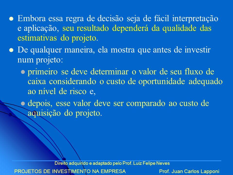 Direito adquirido e adaptado pelo Prof. Luiz Felipe Neves PROJETOS DE INVESTIMENTO NA EMPRESAProf. Juan Carlos Lapponi Embora essa regra de decisão se