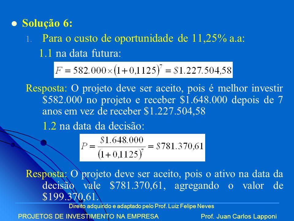 Direito adquirido e adaptado pelo Prof. Luiz Felipe Neves PROJETOS DE INVESTIMENTO NA EMPRESAProf. Juan Carlos Lapponi Solução 6: 1. Para o custo de o