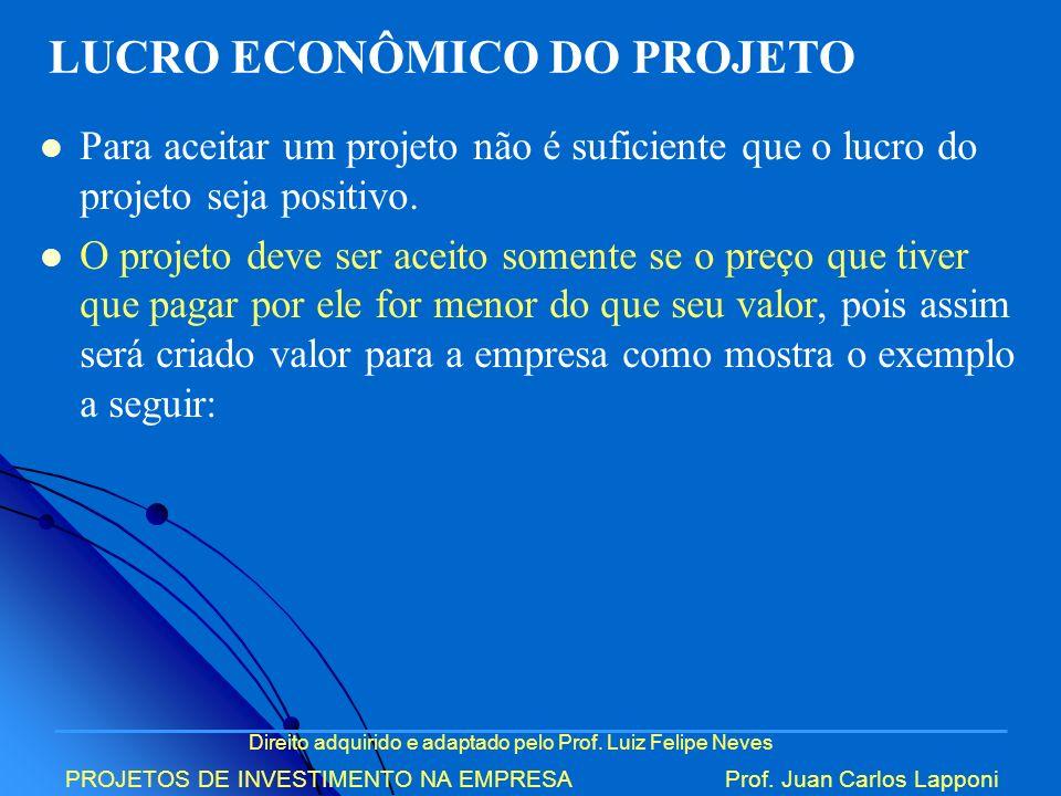 Direito adquirido e adaptado pelo Prof. Luiz Felipe Neves PROJETOS DE INVESTIMENTO NA EMPRESAProf. Juan Carlos Lapponi Para aceitar um projeto não é s