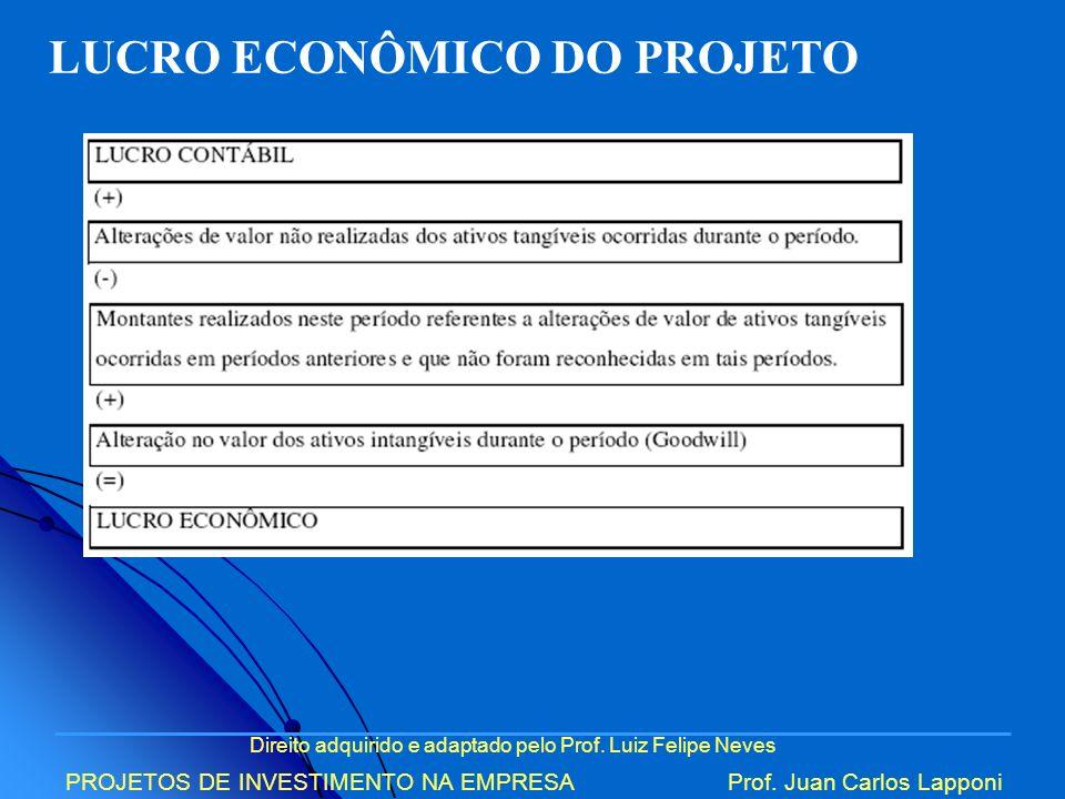 Direito adquirido e adaptado pelo Prof. Luiz Felipe Neves PROJETOS DE INVESTIMENTO NA EMPRESAProf. Juan Carlos Lapponi LUCRO ECONÔMICO DO PROJETO