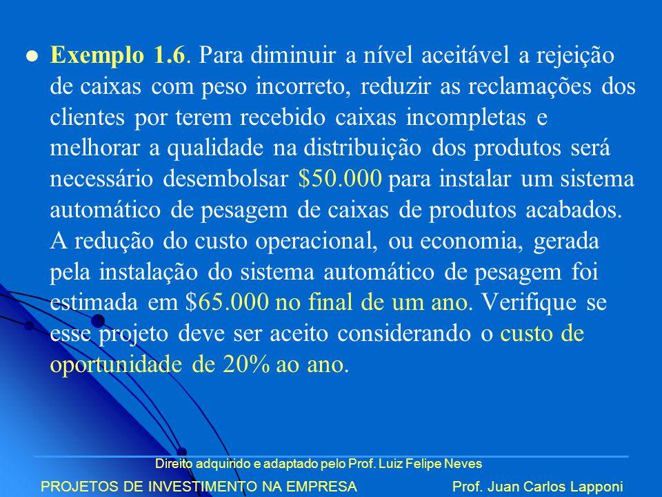 Direito adquirido e adaptado pelo Prof. Luiz Felipe Neves PROJETOS DE INVESTIMENTO NA EMPRESAProf. Juan Carlos Lapponi Exemplo 1.6. Para diminuir a ní