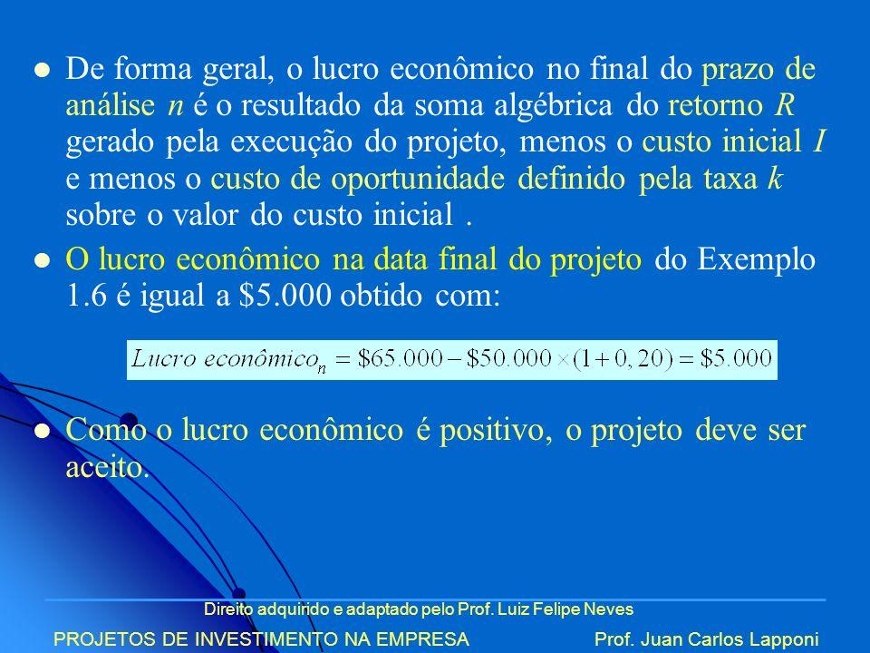Direito adquirido e adaptado pelo Prof. Luiz Felipe Neves PROJETOS DE INVESTIMENTO NA EMPRESAProf. Juan Carlos Lapponi De forma geral, o lucro econômi