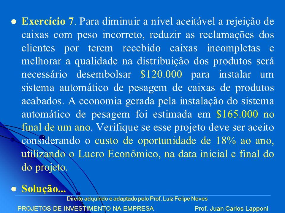 Direito adquirido e adaptado pelo Prof. Luiz Felipe Neves PROJETOS DE INVESTIMENTO NA EMPRESAProf. Juan Carlos Lapponi Exercício 7. Para diminuir a ní