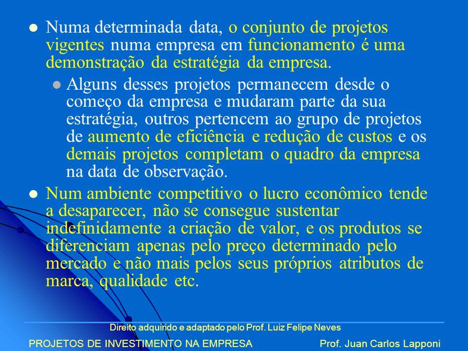 Direito adquirido e adaptado pelo Prof. Luiz Felipe Neves PROJETOS DE INVESTIMENTO NA EMPRESAProf. Juan Carlos Lapponi Numa determinada data, o conjun