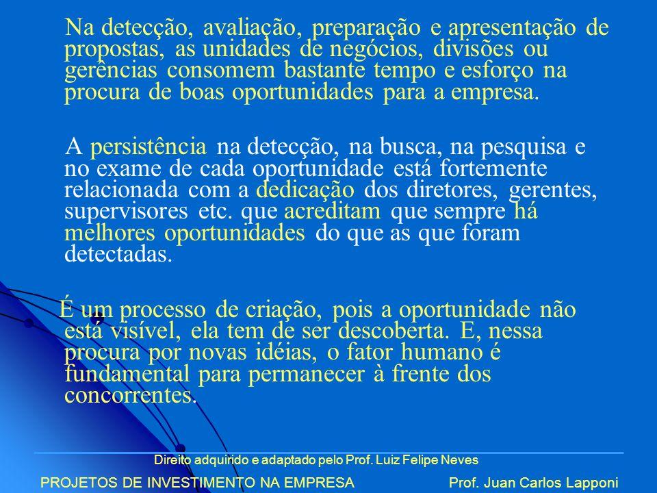 Direito adquirido e adaptado pelo Prof. Luiz Felipe Neves PROJETOS DE INVESTIMENTO NA EMPRESAProf. Juan Carlos Lapponi Na detecção, avaliação, prepara
