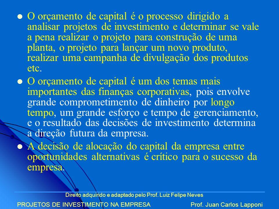 Direito adquirido e adaptado pelo Prof. Luiz Felipe Neves PROJETOS DE INVESTIMENTO NA EMPRESAProf. Juan Carlos Lapponi O orçamento de capital é o proc