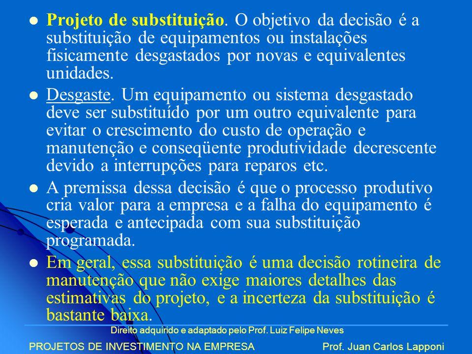 Direito adquirido e adaptado pelo Prof. Luiz Felipe Neves PROJETOS DE INVESTIMENTO NA EMPRESAProf. Juan Carlos Lapponi Projeto de substituição. O obje