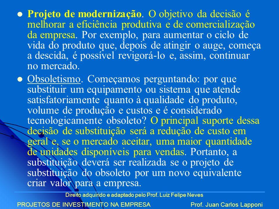 Direito adquirido e adaptado pelo Prof. Luiz Felipe Neves PROJETOS DE INVESTIMENTO NA EMPRESAProf. Juan Carlos Lapponi Projeto de modernização. O obje