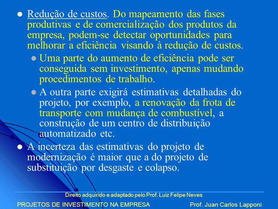 Direito adquirido e adaptado pelo Prof. Luiz Felipe Neves PROJETOS DE INVESTIMENTO NA EMPRESAProf. Juan Carlos Lapponi Redução de custos. Do mapeament