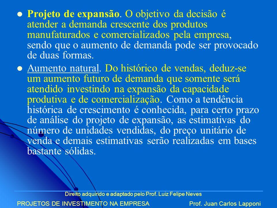 Direito adquirido e adaptado pelo Prof. Luiz Felipe Neves PROJETOS DE INVESTIMENTO NA EMPRESAProf. Juan Carlos Lapponi Projeto de expansão. O objetivo
