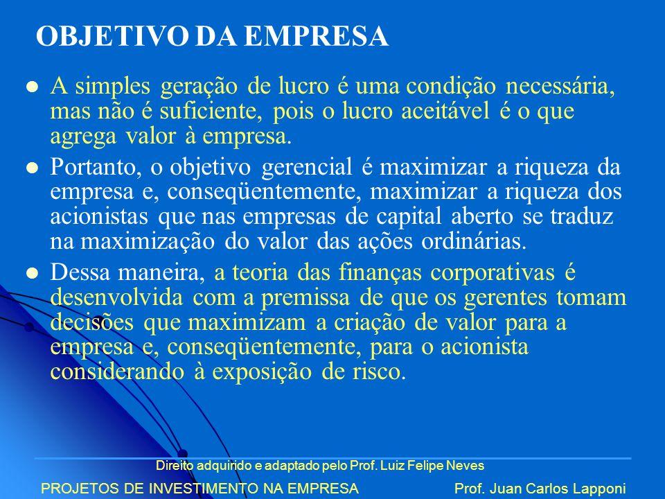 Direito adquirido e adaptado pelo Prof. Luiz Felipe Neves PROJETOS DE INVESTIMENTO NA EMPRESAProf. Juan Carlos Lapponi A simples geração de lucro é um