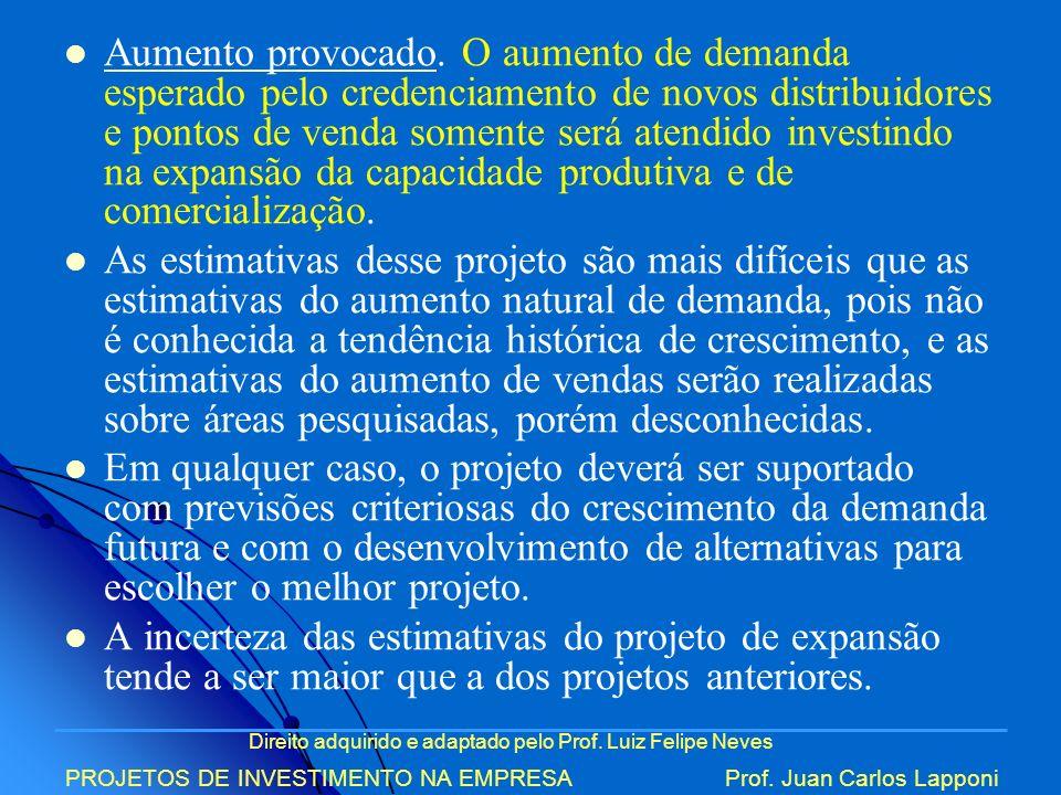 Direito adquirido e adaptado pelo Prof. Luiz Felipe Neves PROJETOS DE INVESTIMENTO NA EMPRESAProf. Juan Carlos Lapponi Aumento provocado. O aumento de