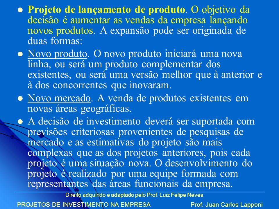 Direito adquirido e adaptado pelo Prof. Luiz Felipe Neves PROJETOS DE INVESTIMENTO NA EMPRESAProf. Juan Carlos Lapponi Projeto de lançamento de produt