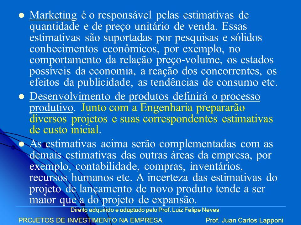 Direito adquirido e adaptado pelo Prof. Luiz Felipe Neves PROJETOS DE INVESTIMENTO NA EMPRESAProf. Juan Carlos Lapponi Marketing é o responsável pelas