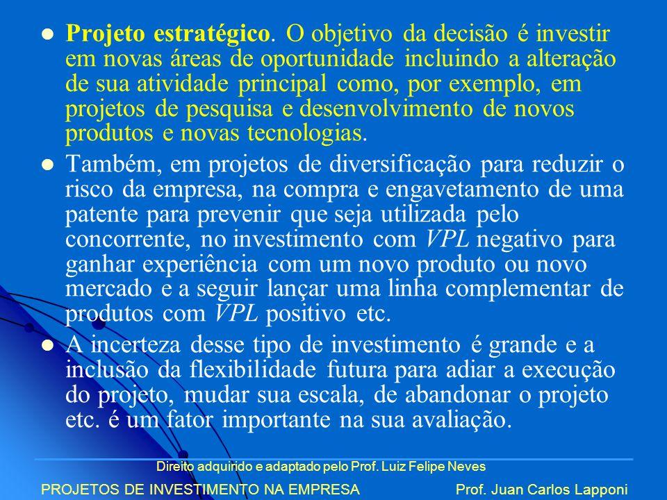 Direito adquirido e adaptado pelo Prof. Luiz Felipe Neves PROJETOS DE INVESTIMENTO NA EMPRESAProf. Juan Carlos Lapponi Projeto estratégico. O objetivo