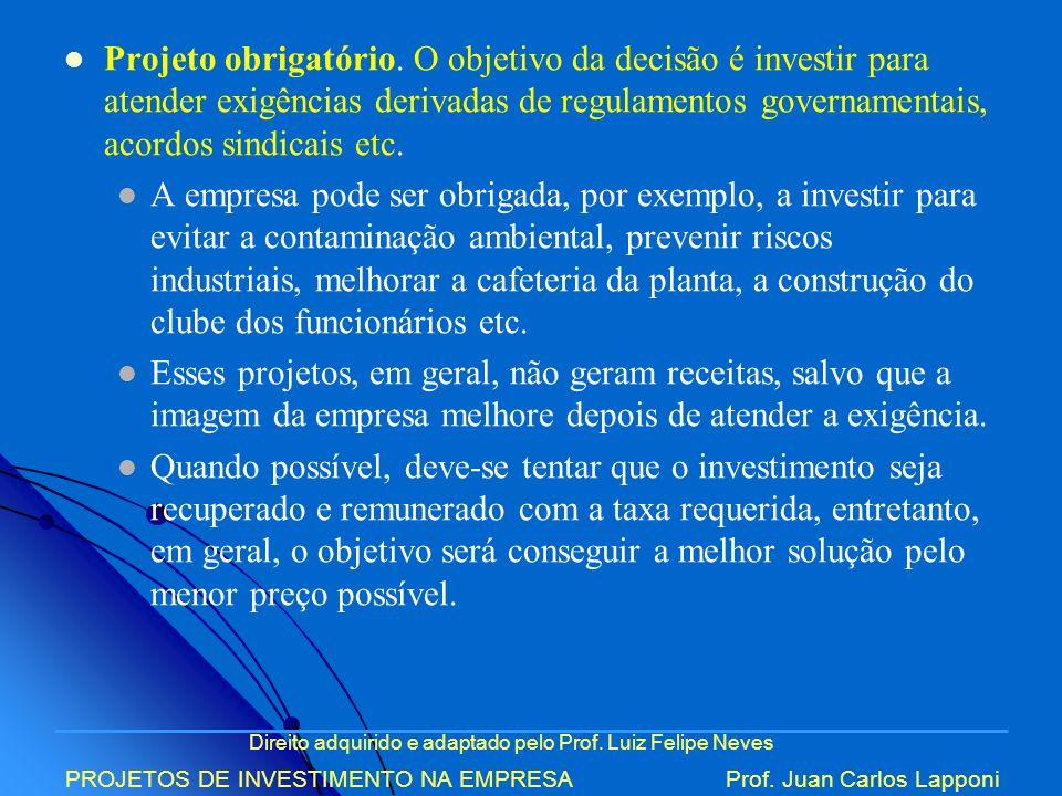 Direito adquirido e adaptado pelo Prof. Luiz Felipe Neves PROJETOS DE INVESTIMENTO NA EMPRESAProf. Juan Carlos Lapponi Projeto obrigatório. O objetivo