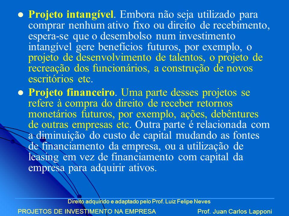 Direito adquirido e adaptado pelo Prof. Luiz Felipe Neves PROJETOS DE INVESTIMENTO NA EMPRESAProf. Juan Carlos Lapponi Projeto intangível. Embora não