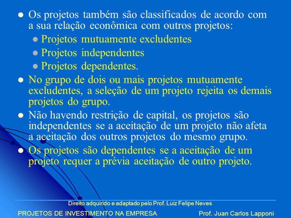 Direito adquirido e adaptado pelo Prof. Luiz Felipe Neves PROJETOS DE INVESTIMENTO NA EMPRESAProf. Juan Carlos Lapponi Os projetos também são classifi