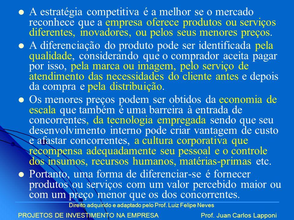 Direito adquirido e adaptado pelo Prof. Luiz Felipe Neves PROJETOS DE INVESTIMENTO NA EMPRESAProf. Juan Carlos Lapponi A estratégia competitiva é a me