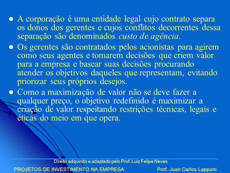 Direito adquirido e adaptado pelo Prof. Luiz Felipe Neves PROJETOS DE INVESTIMENTO NA EMPRESAProf. Juan Carlos Lapponi A corporação é uma entidade leg