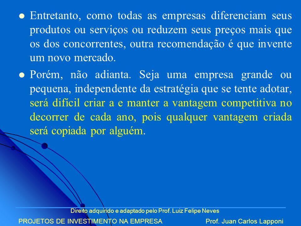 Direito adquirido e adaptado pelo Prof. Luiz Felipe Neves PROJETOS DE INVESTIMENTO NA EMPRESAProf. Juan Carlos Lapponi Entretanto, como todas as empre
