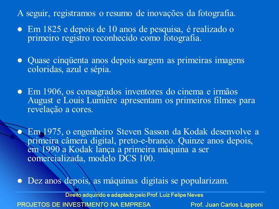 Direito adquirido e adaptado pelo Prof. Luiz Felipe Neves PROJETOS DE INVESTIMENTO NA EMPRESAProf. Juan Carlos Lapponi A seguir, registramos o resumo