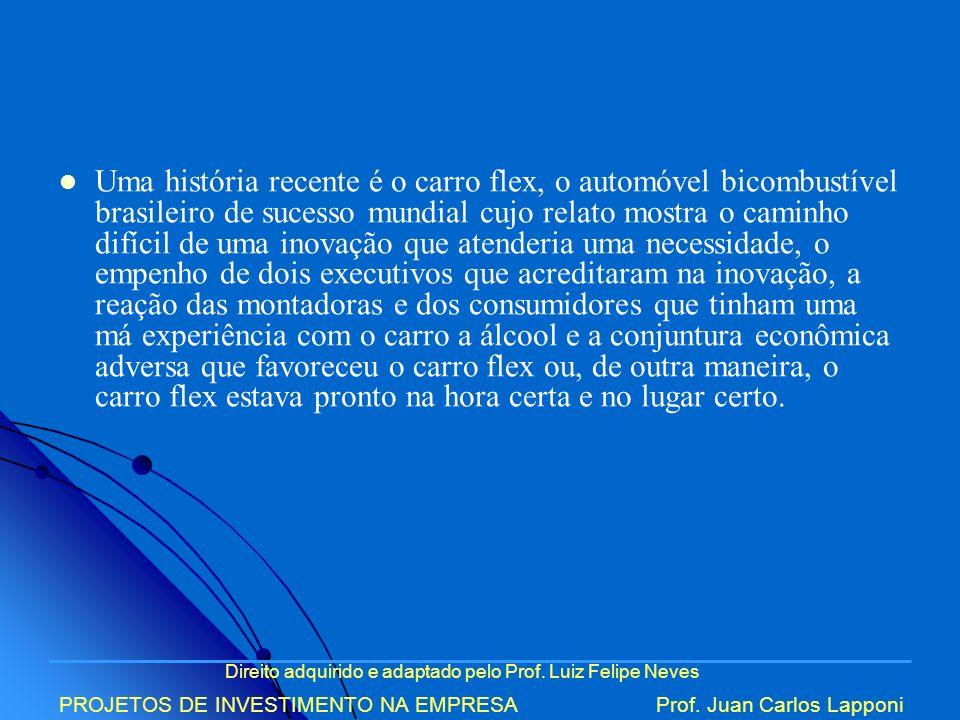 Direito adquirido e adaptado pelo Prof. Luiz Felipe Neves PROJETOS DE INVESTIMENTO NA EMPRESAProf. Juan Carlos Lapponi Uma história recente é o carro