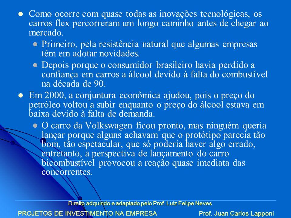 Direito adquirido e adaptado pelo Prof. Luiz Felipe Neves PROJETOS DE INVESTIMENTO NA EMPRESAProf. Juan Carlos Lapponi Como ocorre com quase todas as