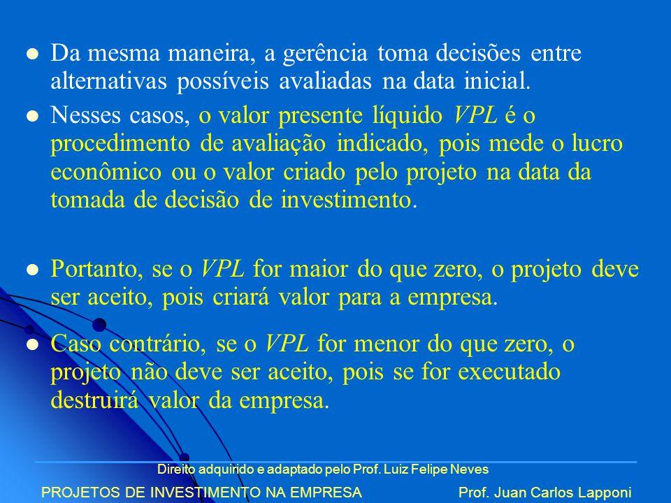Direito adquirido e adaptado pelo Prof. Luiz Felipe Neves PROJETOS DE INVESTIMENTO NA EMPRESAProf. Juan Carlos Lapponi Da mesma maneira, a gerência to
