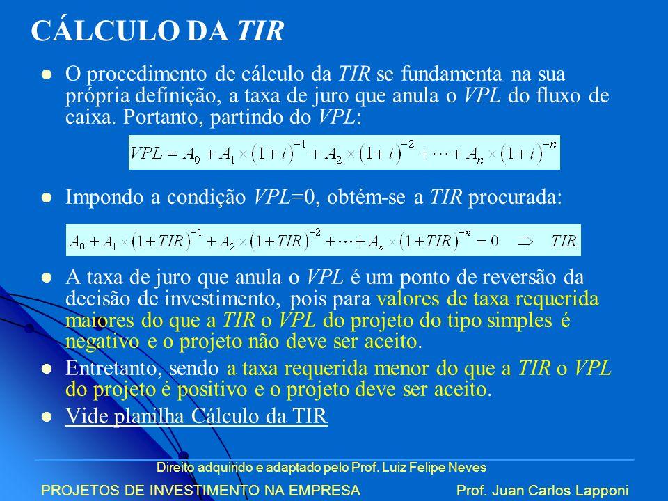 Direito adquirido e adaptado pelo Prof. Luiz Felipe Neves PROJETOS DE INVESTIMENTO NA EMPRESAProf. Juan Carlos Lapponi O procedimento de cálculo da TI