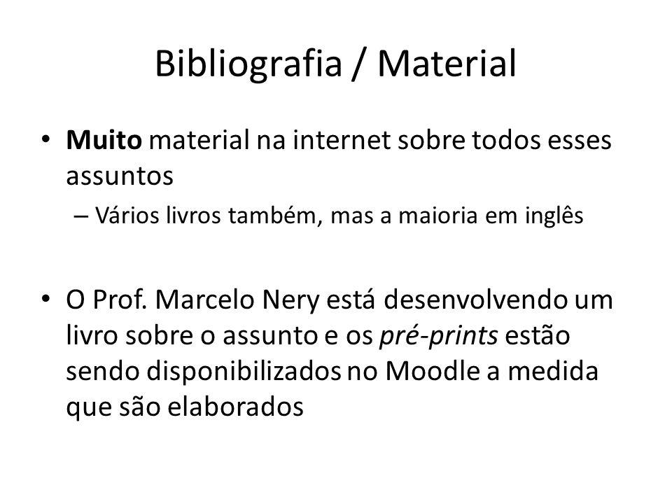 Bibliografia / Material Muito material na internet sobre todos esses assuntos – Vários livros também, mas a maioria em inglês O Prof.