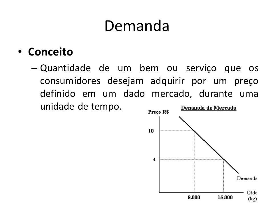 Demanda Conceito – Quantidade de um bem ou serviço que os consumidores desejam adquirir por um preço definido em um dado mercado, durante uma unidade