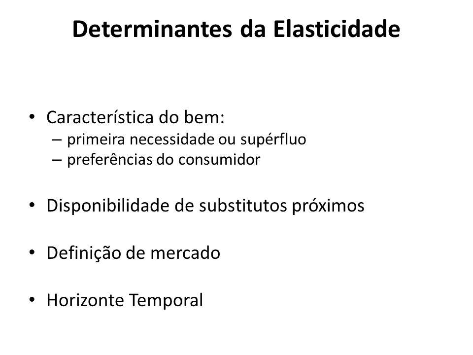 Determinantes da Elasticidade Característica do bem: – primeira necessidade ou supérfluo – preferências do consumidor Disponibilidade de substitutos p