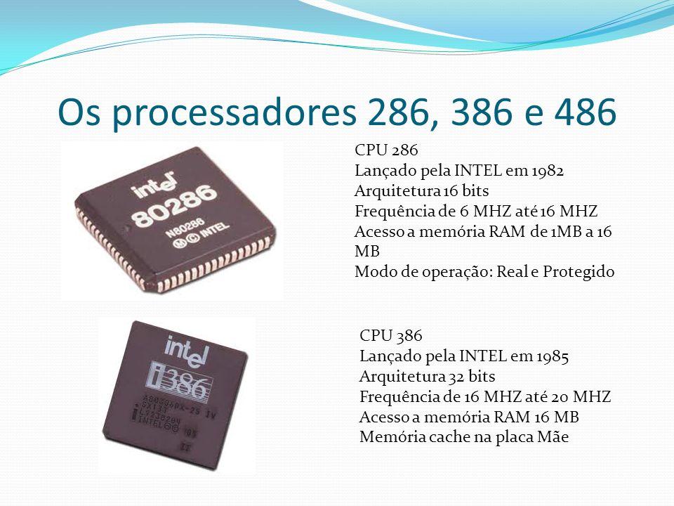 Os processadores 286, 386 e 486 CPU 286 Lançado pela INTEL em 1982 Arquitetura 16 bits Frequência de 6 MHZ até 16 MHZ Acesso a memória RAM de 1MB a 16