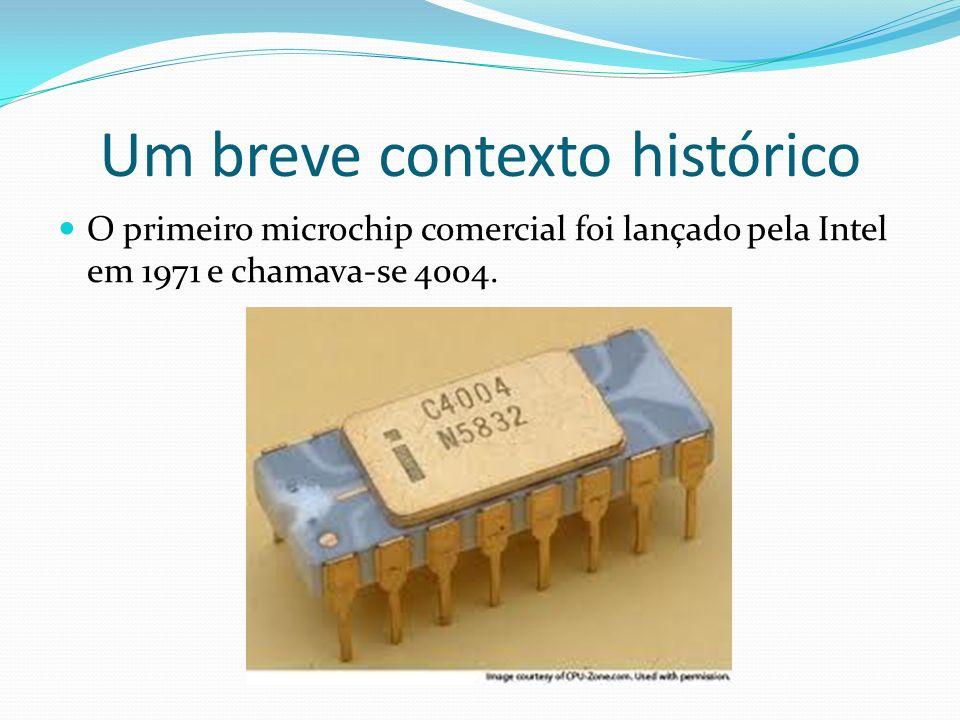 Um breve contexto histórico O primeiro microchip comercial foi lançado pela Intel em 1971 e chamava-se 4004.